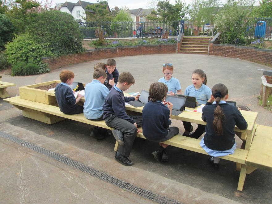 Outdoor Benches and Planters