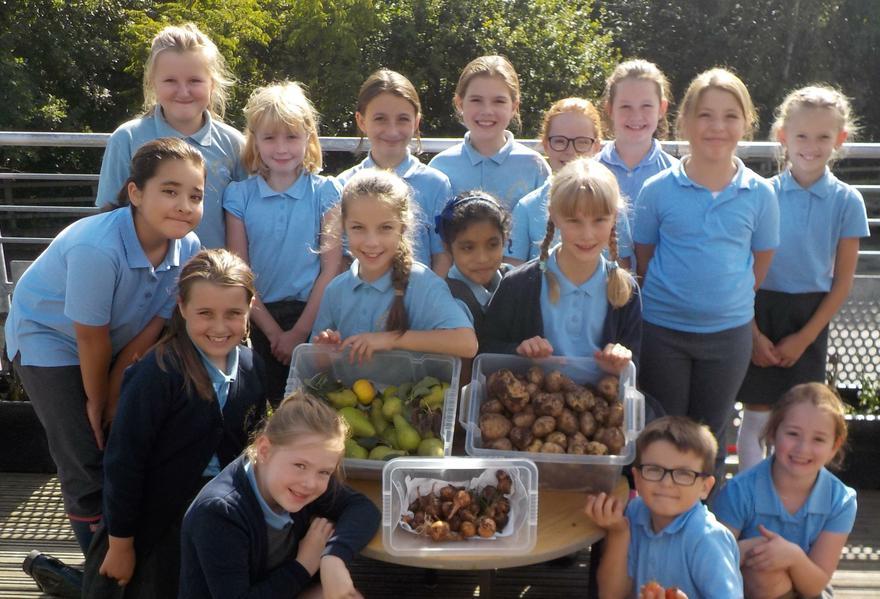 Yr 4&5 Gardening Club with their harvest