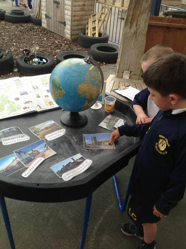 Using the globe to find where we live and places/countries we have visited