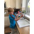 Luca measuring volume!