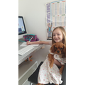 Lucie working hard with her puppy dog!