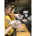 Evie making cakes! Yummy!