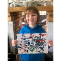 Theo's impressive Jackson Pollack painting!