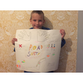 Alfie's bright and colourful road safety poster!