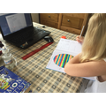 Charlotte working hard on her maths work at home""