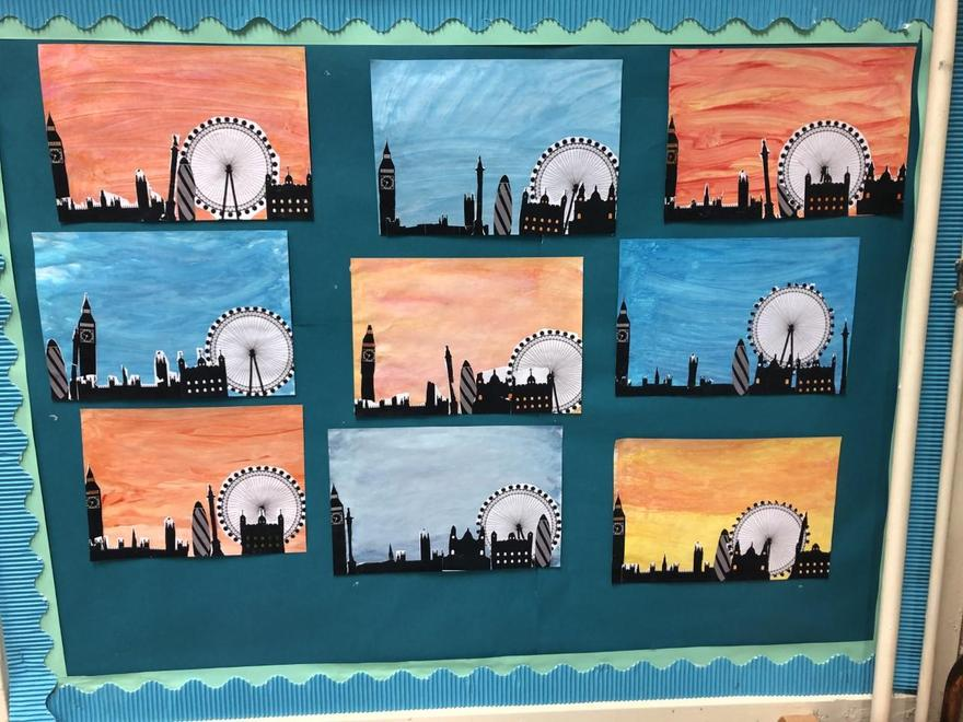 Here are some examples of our recent art work inspired by our Geography topic.
