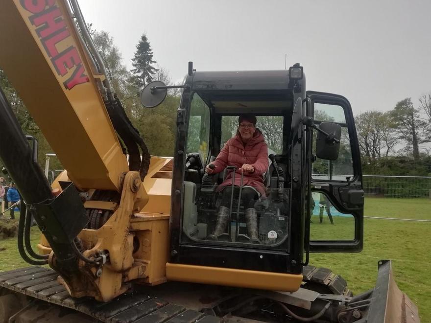 Mrs Jackson operating the digger