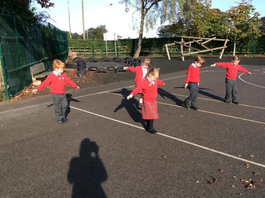 Measuring the playground using feet