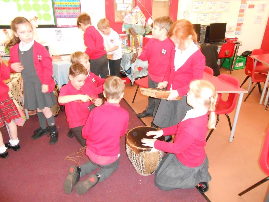 Playing African instruments