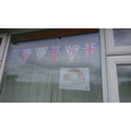 Ethan made bunting to decorate his house!