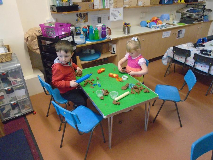 Sensory play, with chocolate mint playdough