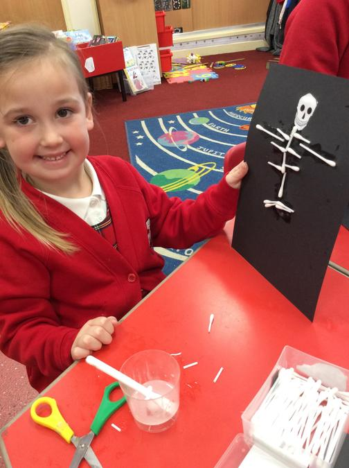 We learnt about Skeletons in our key text 'Funnybones'. We learnt the names of bones.