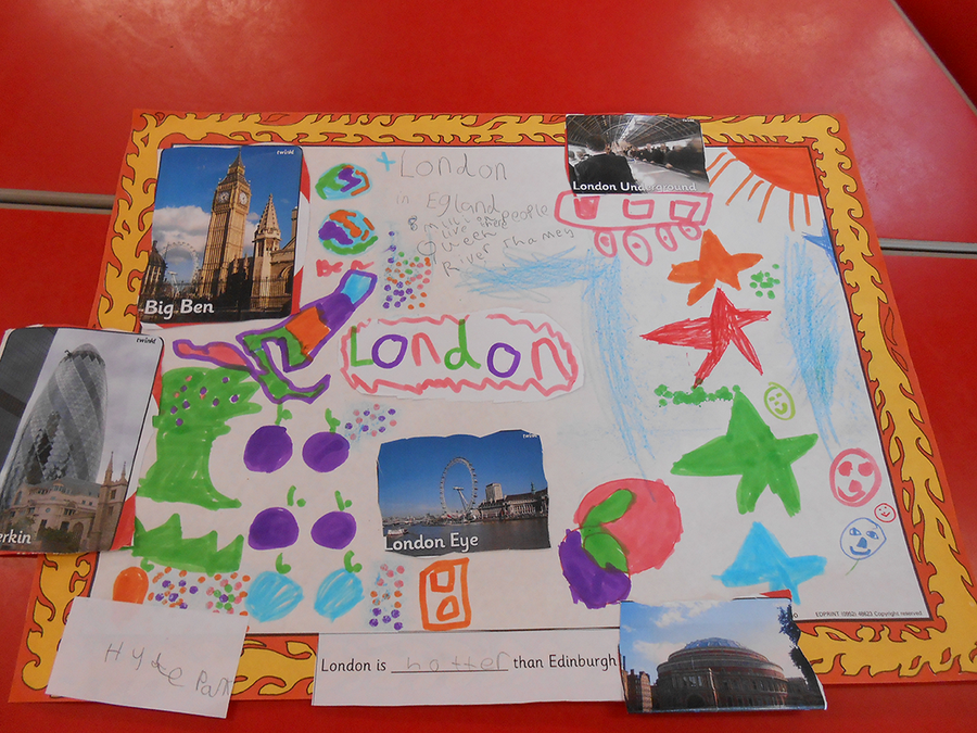 Creating posters about UK capitals