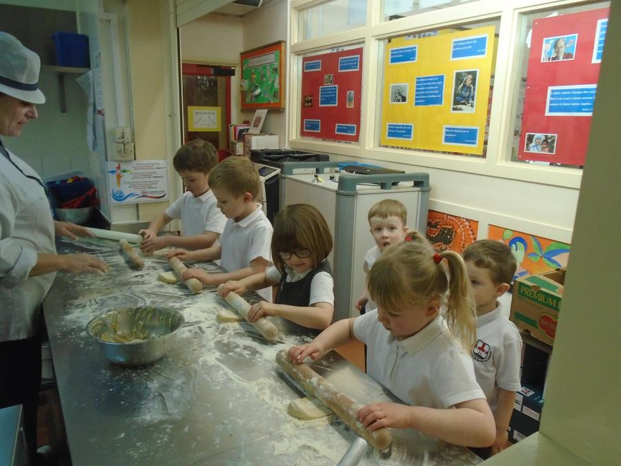 Making gingerbread men with Mrs Cooper