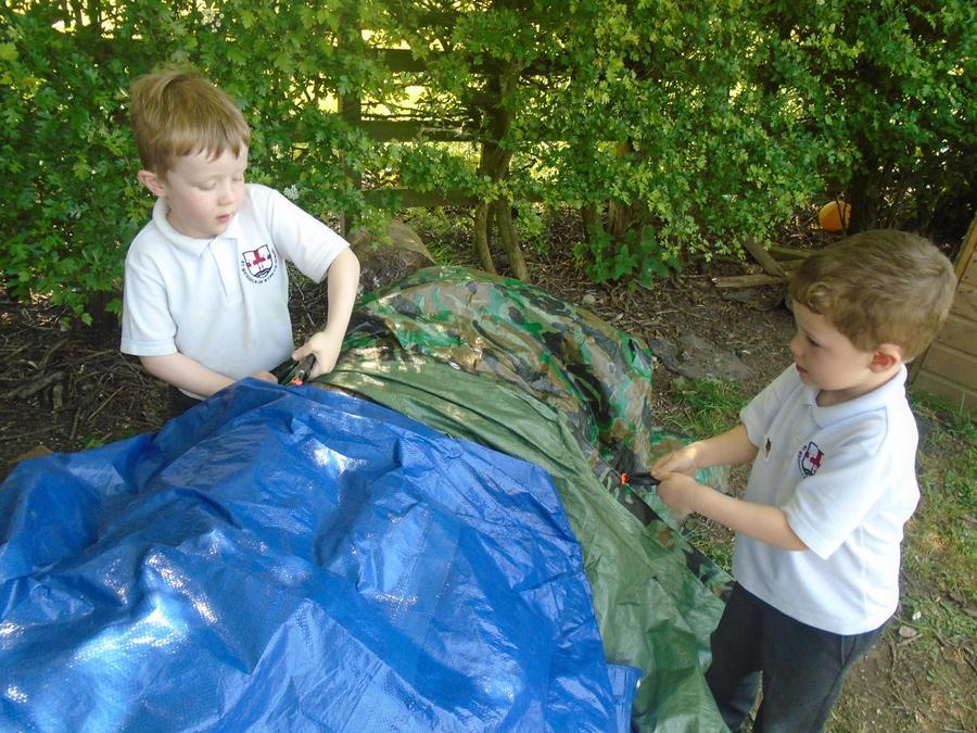 Den building in forest school area