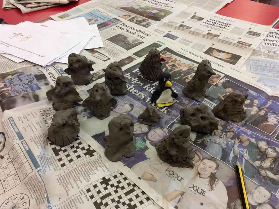 Our finished penguins ready to paint