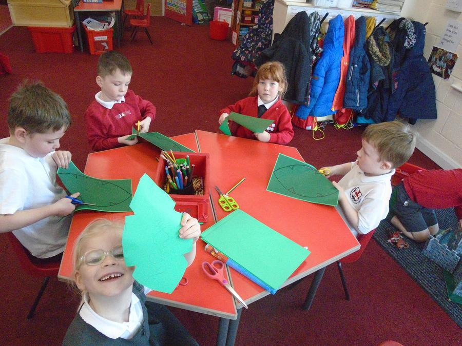 We made palm leaves for Palm Sunday