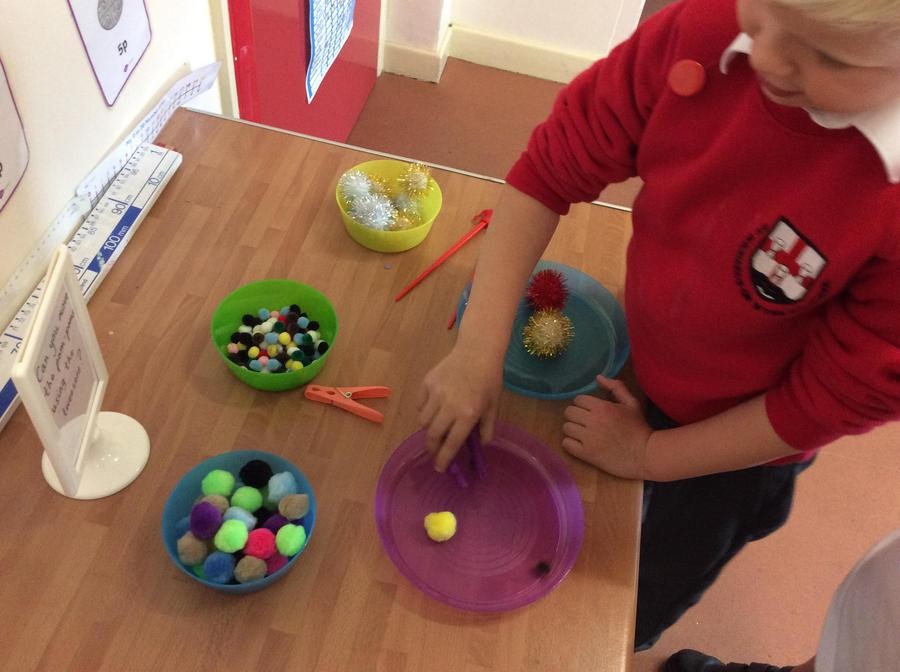 Having a go at the finger gym activities