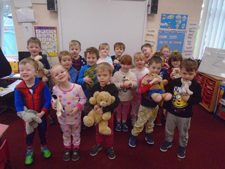 Oak Class in their pyjamas