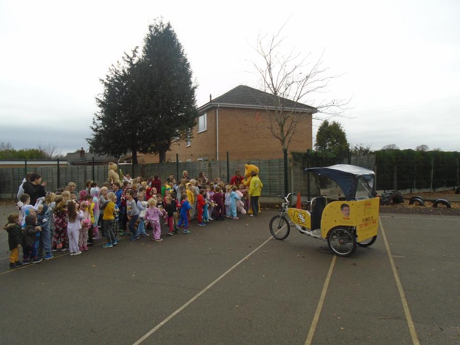 Pudsey greets to the children