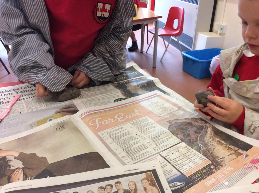 Creating clay penguins