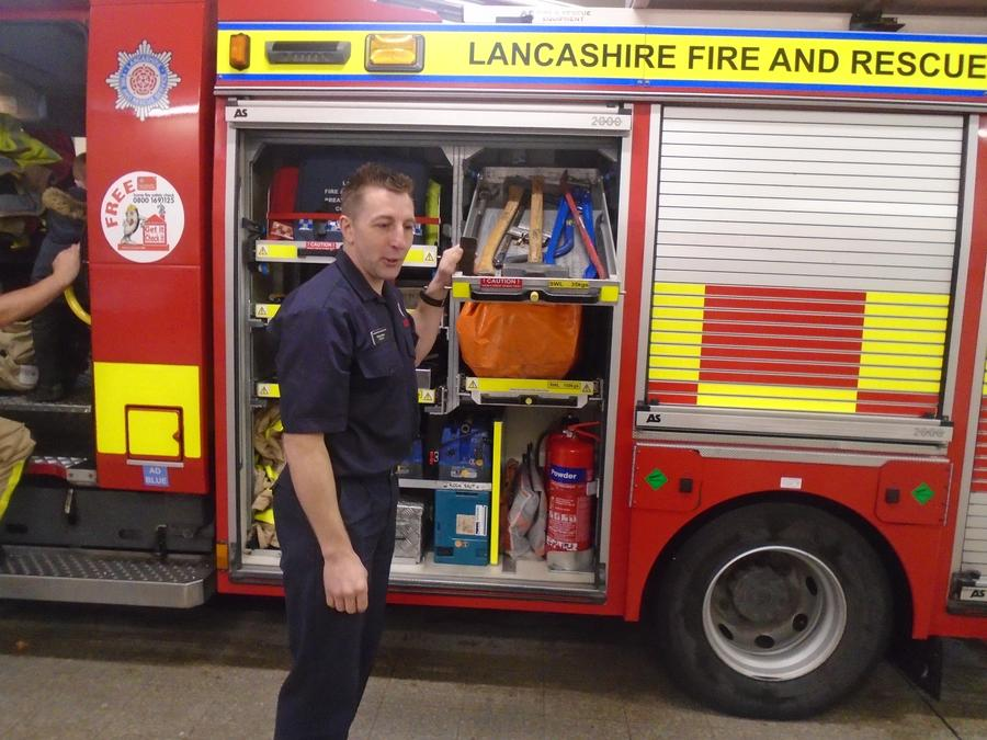 Looking at the equipment on the fire engine
