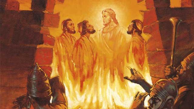 Shadrach and friends in the fire with Jesus