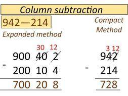 Column subtraction examples