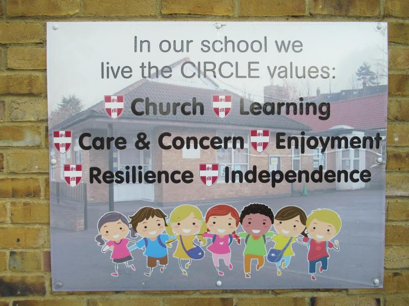 Circle values playground sign