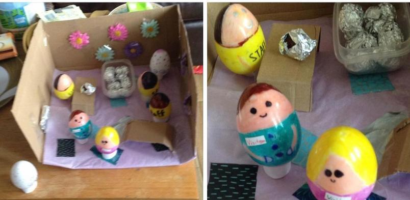 Cerys and Caitlin's chocolate egg factory