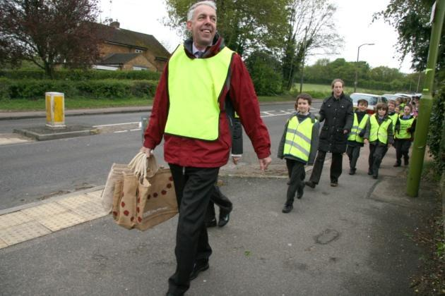Mr Mallon and the school 'walking bus'