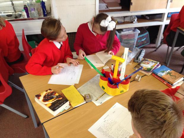 Working in pairs to find evidence in a text