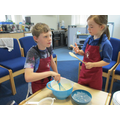 Lucas and Lauren making cakes for St Georges Day