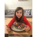 Lauren in Year 1 making ladybird cakes