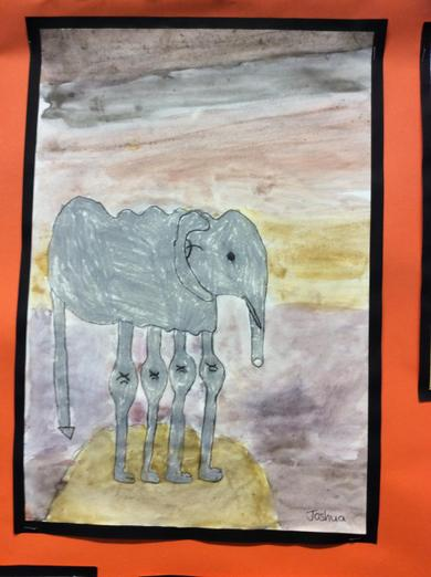 Watercolour Elephants in the style of Dali