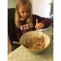 Evie cooking