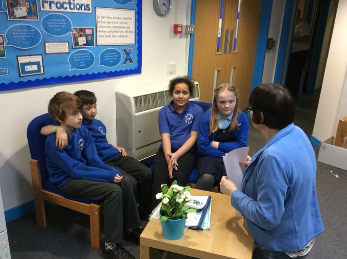 Pupils from Owl class talking to a Governor.