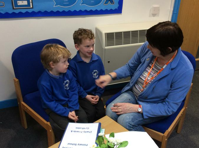Pupils from Badger class talking to a Governor