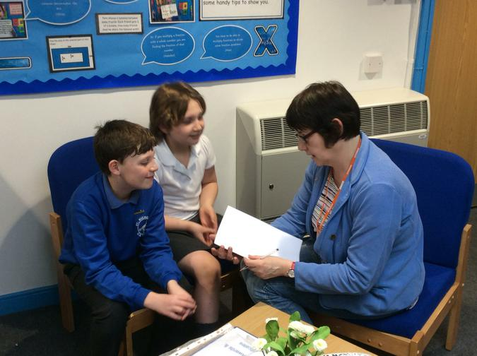 Pupils from Fox class talking to a Governor