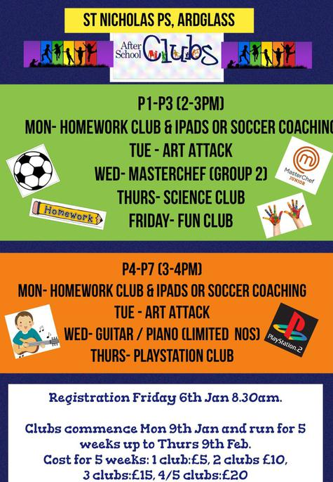 After Schools Clubs january 2017