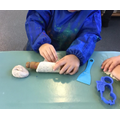 Exploring sensory play dough.