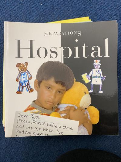 A book which looks at going into hospital. It includes advice about the hospital trip/stay