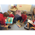 Sharing books in our reading corner