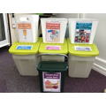 Responsible recycling in the staff room.