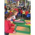 Practising letter shapes
