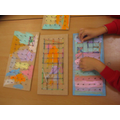 Using our new peg boards to make patterns