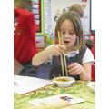 Learning to use chopsticks -tricky!