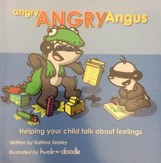 Angus is often angry but hs family help him to listen and share his feelings by talking.