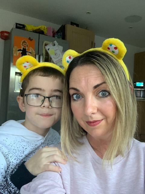 Mrs Bardell and Jack ready for Children in Need day  2020