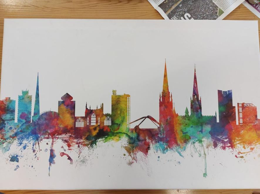 Sketch the skyline of Coventry. Look at the shapes that the buildings are made up of.